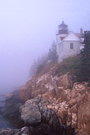 This shows an early morning fog off the coast of Mount Desert Island in Maine.