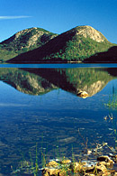 This shows the North and South Bubble Mountains in Acadia National Park.