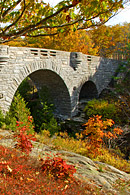 This shows one of the many stone bridges located within Acadia National Park.