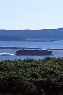 This shows The CAT ferry as it leaves Bar Harbor, Maine on its way to Yarmouth, Nova Scotia at speeds up to 55 mph.
